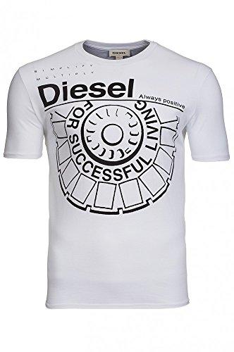 Diesel - Camiseta - Logotipo - Cuello redondo - para hombre Ballock (Large, blanco)
