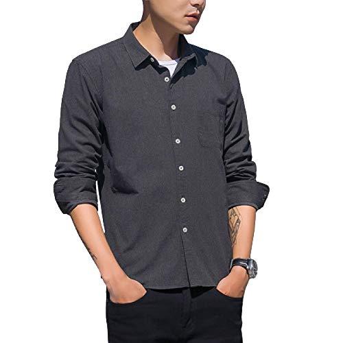 Camisa de Manga Larga para Hombre Color sólido Ajuste Relajado Moda Transpirable Un Solo Bolsillo Camisa clásica Informal con Botones X-Large
