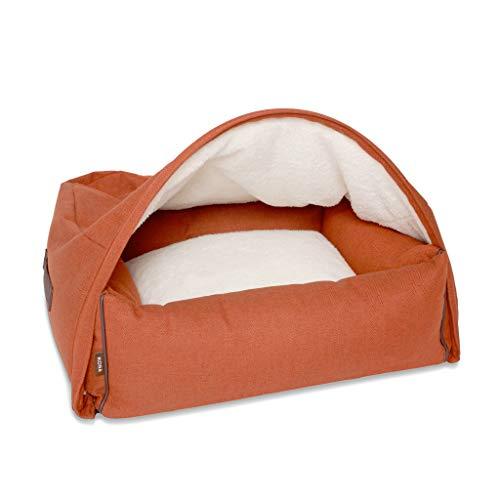KONA CAVE® Cama para perro de diseño con funda para cueva con cremallera (2 camas en una) - Pequeño - Espiga de espiga naranja