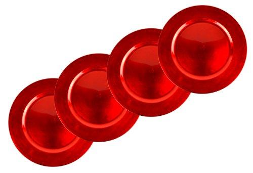 * 4er-Set Platzteller für Weihnachten, Hochzeit, Party | Gold, Silber oder Rot | stilvolle Dekoteller aus Kunststoff im Metall-Look | Ø ca. 32,5 cm (Rot)