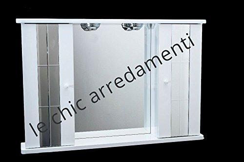 Le Chic Arredamenti specchiera Bagno Bianco Laccato Lucido 2 Ante 90 cm