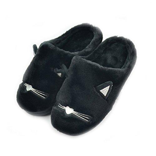 zhenghewyh Morbido Inverno Schiuma Vello Casa Pantofole per Uomini Donna Bambini (41/42 EU), Nero