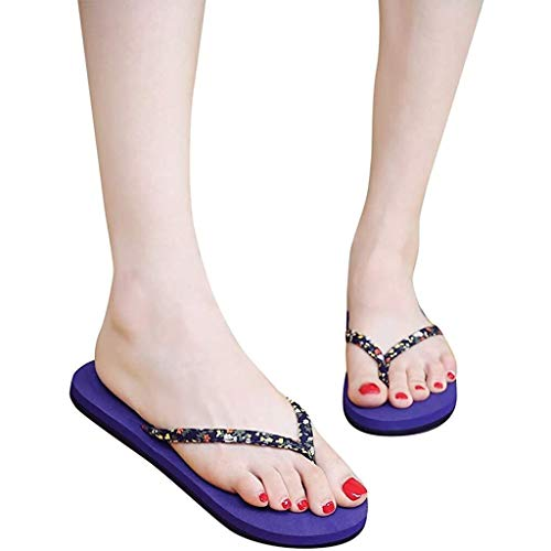 Flip Flops Frauen Sommer-Blumen Rührkuchen Sandalen Pool Strand Slipper-Schuhe (Color : Blue, Size : UK6-39 EU)