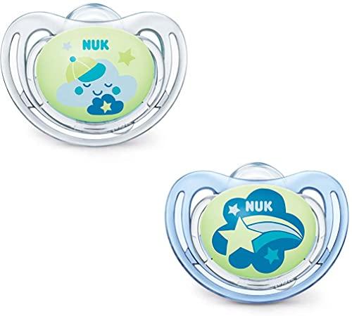 Chupete Freestyle Night Silicona NUK. Pack de 2 unidades modelo Nube y Estrella de 6 a 18 meses. Brilla en la oscuridad.
