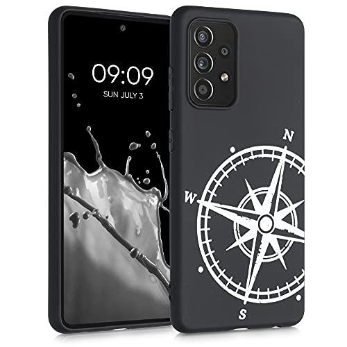 kwmobile Carcasa Compatible con Samsung Galaxy A52 / A52 5G / A52s 5G - Funda móvil TPU - Aguja magnética Blanco/Negro