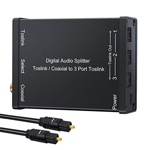 PROZOR SPDIF Toslink - Divisor de Audio Digital óptico de 2 en 3 Salidas de aleación de Aluminio coaxial a Toslink, Compatible con convertidor LPCM 2.0 DTS Dolby-AC3 con Cable óptico de 3.3 pies
