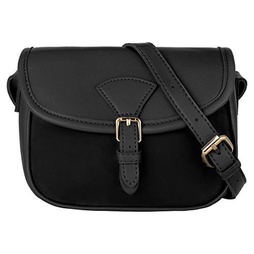 CRAZYCHIC - Damen Kleine Umhängetasche - Schultertasche PU Leder - Mini Messenger Crossbody Bag Citytasche - Frauen Satteltasche Handtasche - Einfache Elegante Tasche Abend Mode Reise - Schwarz
