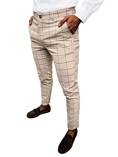 OZONEE Herren Chino Hose Chinos Stoffhose Chinohose Anzughose Anzug Herrenhose Röhrenhose Pants Elegant Business Slim Fit Regular Klassisch Classic Basic DJ/5522 BEIGE W36