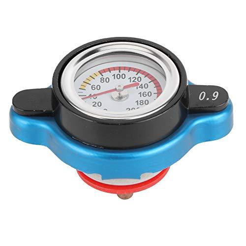 Thermostatischer Kühlerdeckel, universeller Thermostatischer Kühlerverschlussdeckel Kühlerdeckel Wassertankdeckel Auslaufsicher mit Temperaturanzeige(Großer Kopf 0,9 bar)