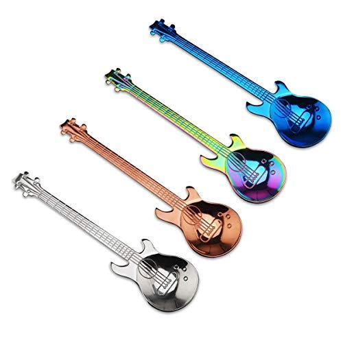 Cikuso Satz Von 4 Gitarre Geformt Edelstahl Kaffee L?ffel Mokkatasse L?ffel Dessert L?ffel Zucker L?ffel Küche Niedlichen Utensilien