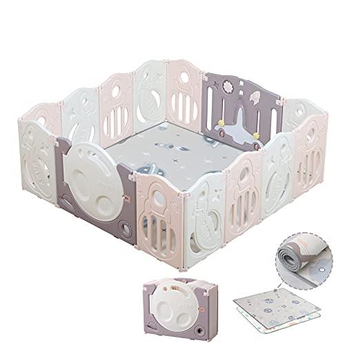 Bamitus - Parque de Juego para Bebe Plegable, Nuevo Panel Extra Grande, Parque Infantil de Plástico, Barrera Seguridad, Corralito 14 Paneles (Espacio Rosa, 160x160 cm)