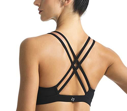 FITTIN Strappy Sports Bra - Crisscross Back Sports Bra for Women Wirefree Bra Yoga Tops Black Large