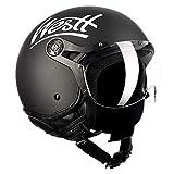 Westt Classic X Leather Casco de Moto Jet Abierto Cuero Negro - Motocicleta Scooter Estilo Vintage - Certificado ECE