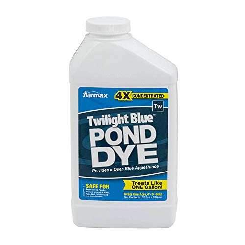 Airmax 4X Concentrated Twilight Blue Pond Dye, Shades & Protects Your Pond, Enhances Natural Color, Safe for Irrigation, Animals, Recreation, & Environment, 1 Qt