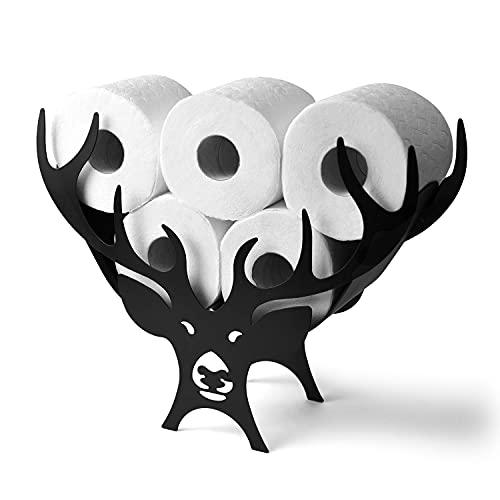Design Fittings Toilettenpapierhalter Stehend aus Metall WC Rollenhalter Ersatzrollenhalter Freistehend Design Deko Badezimmer Ohne Montage I für bis zu 7 Rollen Papier I Schwarz I Hirsch
