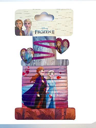 TrendyMaker Disney Frozen 2, Eiskönigin Haarschmuck Set - 2 Haarspangen, Haarklammern mit Herzmotiv + 12 Haargummis, Haarband, Zöpfchenhalter
