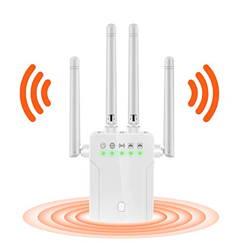 WiFi Extender, 1200Mbps WiFi Extenders Signal Booster for Home, 2.4G & 5G Dual Bands WiFi Booster, WPS Plug & Play WiFi Repeater 360° Full Coverage Wireless WiFi Extender Booster Ethernet
