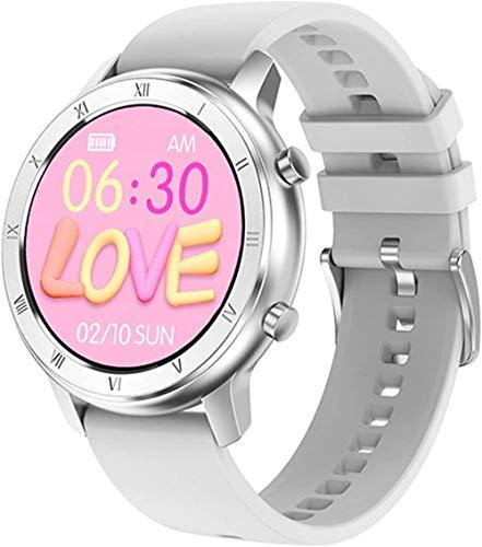 Reloj Inteligente Full Touch Pantalla Redonda IP68 Impermeable Smartwatch Mujeres para Android IOS Teléfono Hombres Reloj-Silicio Blanco