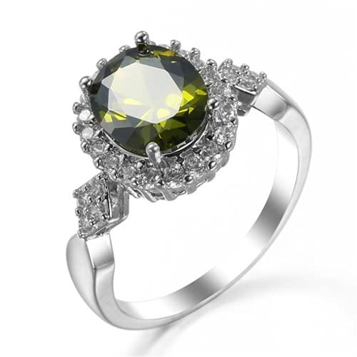 XLOOYEE Joyería de Zircon de Cristal Anillo Anillo de joyería de Plata para Novia Compromiso,Verde
