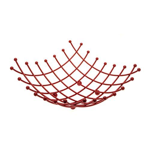 Corbeille à fruits carré métal rouge