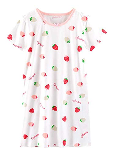 ABClothing Girls & Mommy Matching All Seasons Cotton Strawberry & Watermeloen Short & Long Sleeve Nightgown 3-12 jaar Wit Roze