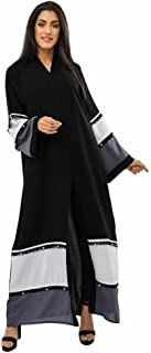 BOUSNI Women's BSI814 Multicolor Abaya, Black