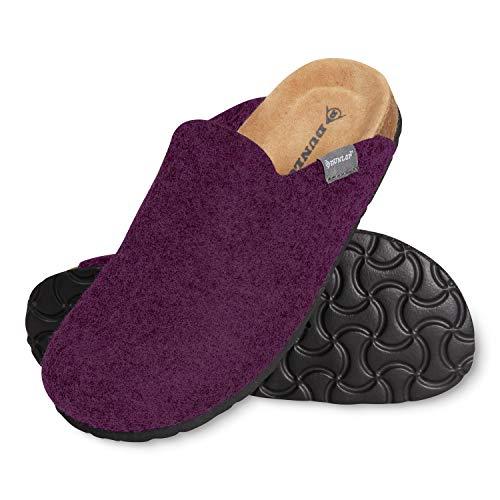 Dunlop Ciabatte Donna, Pantofole Invernali Feltro con Soletta Memory Foam, Ciabatta Antiscivolo per Casa, Comode Babbucce per Ragazza, Idea Regalo Compleanno (Viola, Numeric_38)