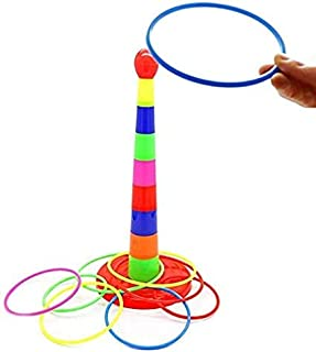 Sailunte 16Pcs Toss Ring Game Set Colorful Plastic Sport Hoop Ring Throwing Toys kids adults Interactive toy for Garden Ba...