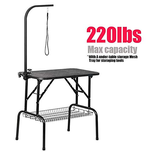 Yaheetech Foldable Pet Dog Grooming Table with Adjustable Height Arm Drying Table for Home w/Noose for Small Dogs Cats Non-Slip Maximum Capacity Up to 220lbs 32-inch Black