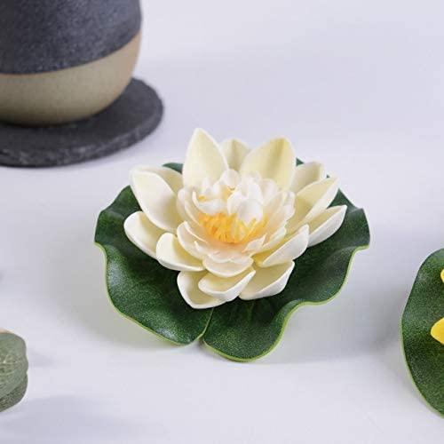 Exquisito 1pcs 10 cm Flores de espuma de loto artificial Lirio de agua blanca Plantas de piscina flotantes para la boda Hogar Jardín EVA Decoración ( Color : Milk White , Size : 10 cm )