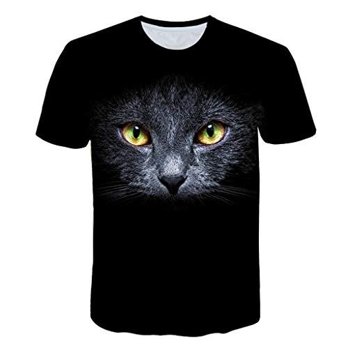 LXZWAN Cómoda Camiseta Creativa de Manga Corta, Frescos de Moda Unisex de Manga Corta de Camisas 3D Creativo Impreso de Oro Gato de Ojos Negro Gráficos Manera de La Personalidad Camisetas