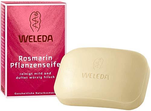 WELEDA Rosmarin Pflanzenseife, vegane Naturkosmetik Kernseife mit ätherischen Ölen reinigt und belebt die Haut und den Körper, erzeugt einen cremigen Schaum (1 x 100 g)