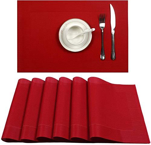 Manteles individuales U'Artlines de tejido de vinilo antideslizantes y lavables, vinilo pvc, Rojo, 6pcs placemats