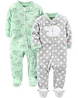 Simple Joys by Carter's Baby Infant 2-Pack Fleece Footed Sleep and Play, Lamb/Elephant, Preemie