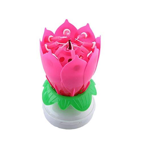 Loto Musica Rotante Candele,Ruotante Decorazione Torta Candele Compleanno,candele compleanno rosa di Torta di Compleanno,Candela Fiore Musicale per la Festa di Compleanno per La Casa