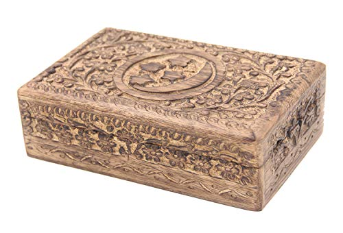 DharmaObjects Celestial Moon and Stars Hand Carved Wooden Storage Keepsake Box (Large, Moon & Stars)