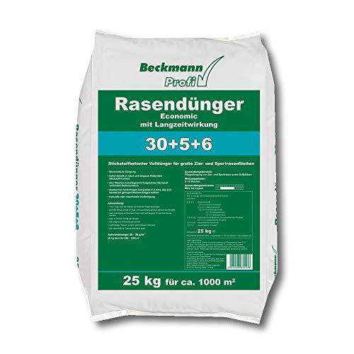 Beckmann Rasendünger Economic LZW 30+5+6 Langzeit Chloridarm Volldünger 25 kg für 1000 m²