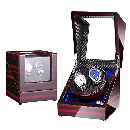 CWCCGGG Caja Enrolladora Automática Doble para 2 Relojes - Estuche De Viaje Y Almacenamiento De Relojes con Carcasa De Madera - Luz De Fondo Azul - Tapa Abierta Función De Parada Automática