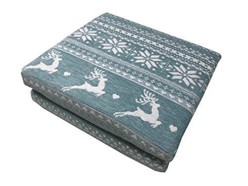 Lancashire Textiles Vintage Style Heavyweight Emroidered Nordic Reindeer 127cm x 152cm Settee Sofa Throw - Duck Egg