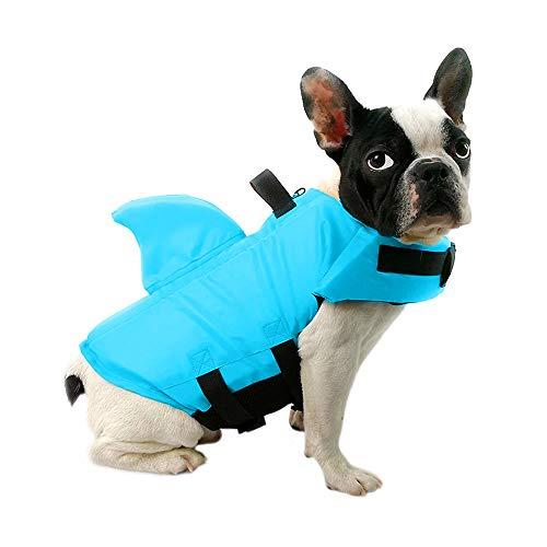 FONLAM Chaleco Salvavidas para Perros Mascotas Chaqueta Chaleco de Seguridad Perro Perrito con Aleta de Tiburón Ropa de Baño (Azul, X-Small)
