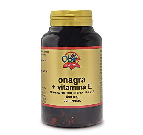 220 perlas Aceite de Onagra 500 mg con 10% en GLA (Ácido Gamma-linolénico) + 3,35 mg de Vitamina E. 220 perlas