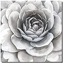 3Hdeko - Large Gray Flower Picture Wall Art 3D Grey White Floral Painting for Bathroom Teen Girls Bedroom Living Room Home Decoration, Modern Canvas Artwork, Ready to Hang (30x30inch)