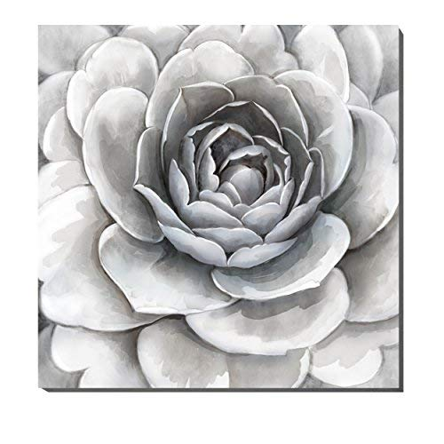 3Hdeko-Large Flower on Canvas Artwork Simple Elegant Gray with Slightly Purple and Pink for Living Room Bedroom Decorations Cubism Floral Wall Art with Embellishment,Stretched(30X30Inch)