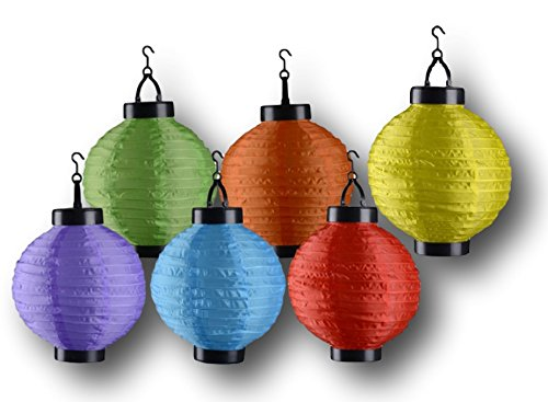 Solar LED Garten Party Lichter Laterne 6 bunte Lampen kabellos 20cm Gartenbeleuchtung Außenbeleuchtung