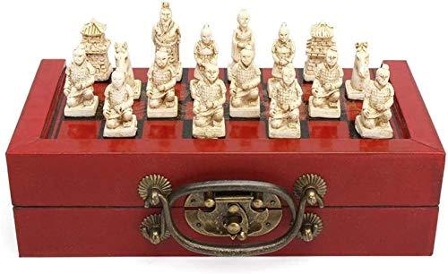 MARHD Schach Brettspiel 32 Pcs Terra Cotta Krieger Figur Schach Set mit chinesischen Holz Leder Box Brettspiele Box Größe 20.5x10x6cm für Kinder und Erwachsene (Color : Brown, Size : One Size)