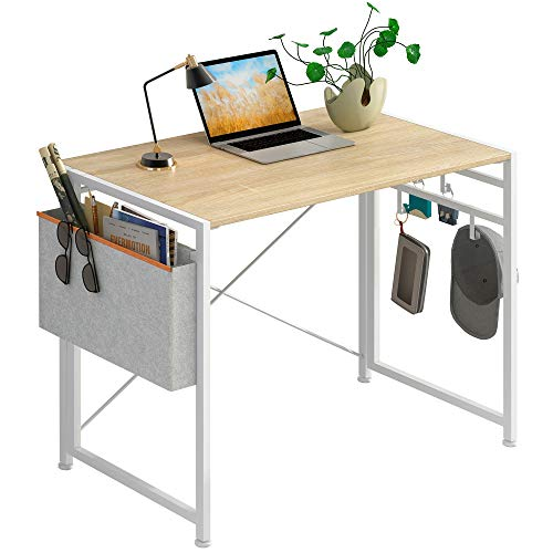 "JSB Folding Computer Desk with Cloth Bag Hook, No-Assembly PC Desk Modern Small Work Table Laptop Writing Desk for Home Office (35.43"" x 17.7"" x 29.53"", White & Cloth Bag)"