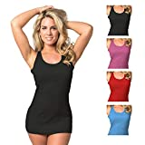 Emprella Tank Tops for Women, 5 Pack Comfortable Cotton Tank Top (Large, Assorted)