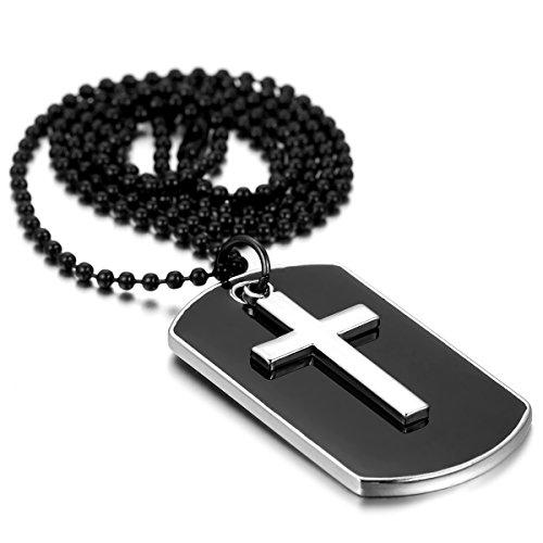 Flongo Herren Kette Anhänger, Legierung Halskette Silber Schwarz Kreuz Kruzifix Erkennungsmarke Dog Tag Armee Stil Kette Herren Accessoires