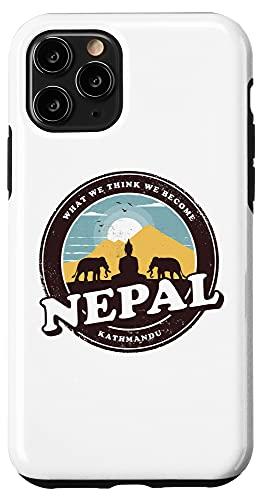 iPhone 11 Pro Nepal Kathmandu Buddha Statue Elephants Vintage Gift Case