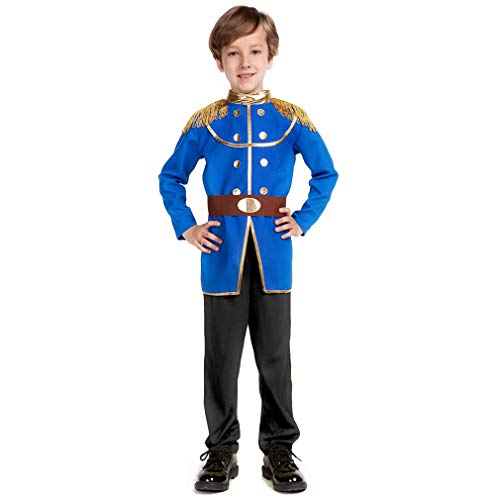 Blue Boys Prince Charming Costume-Kids Halloween Christmas Party Cosplay Prince Costumes with Belt (XS)
